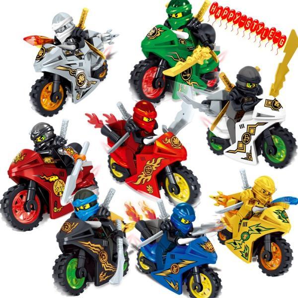 レゴ レゴブロック LEGO レゴブロック ニンジャゴー 忍者とバイク各8台 互換品 クリスマス プレゼント|happy-style-g
