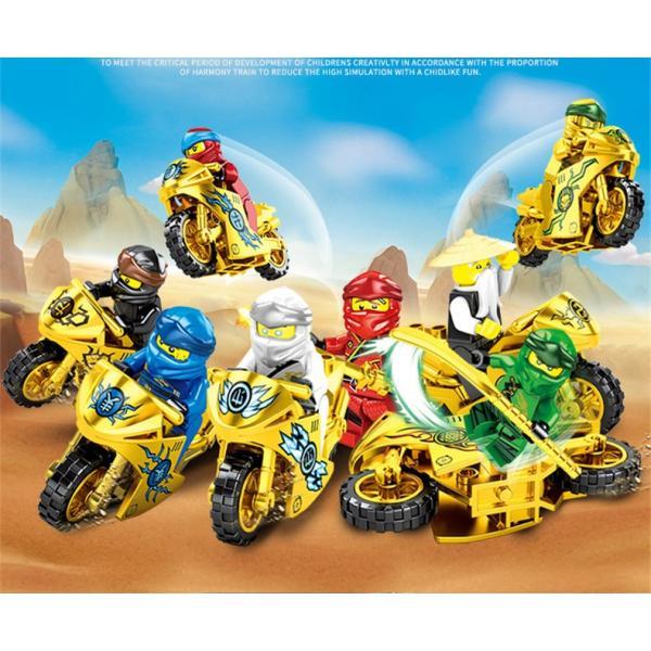 ブロック互換レゴ互換品レゴミニフィグニンジャゴー忍者とバイク各8台BセットレゴブロックLEGOクリスマスプレゼント
