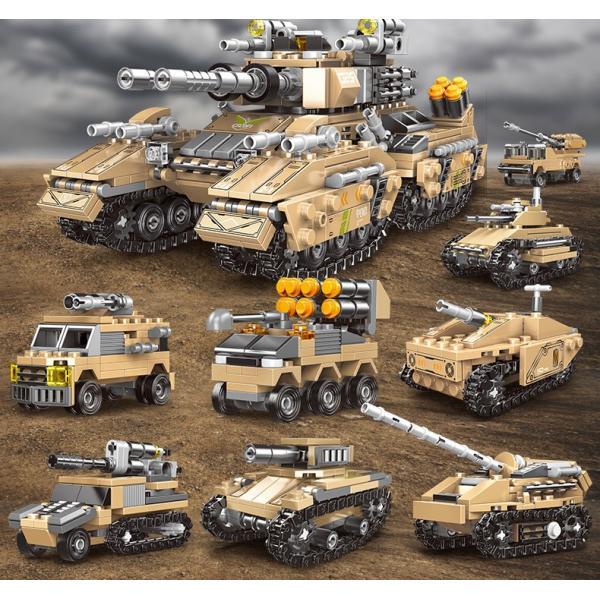 ブロック互換レゴ互換品レゴ戦車軍用車両ミサイル車など8in125種組立互換品クリスマスプレゼント