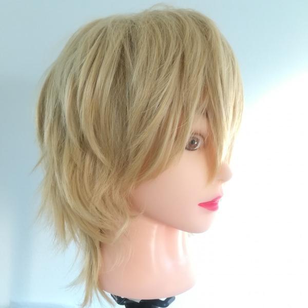パンク系♪逆毛ショートのフルウィッグ★金髪