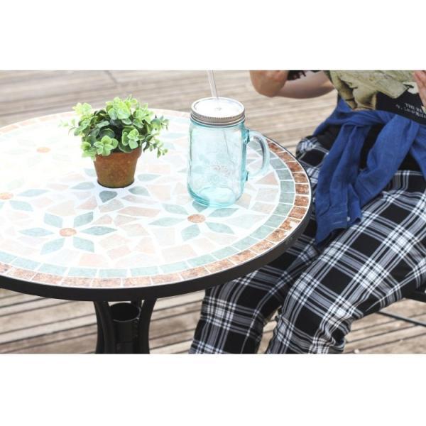 ベランダ テーブル おしゃれ モザイク柄 花柄 ガーデンテーブル