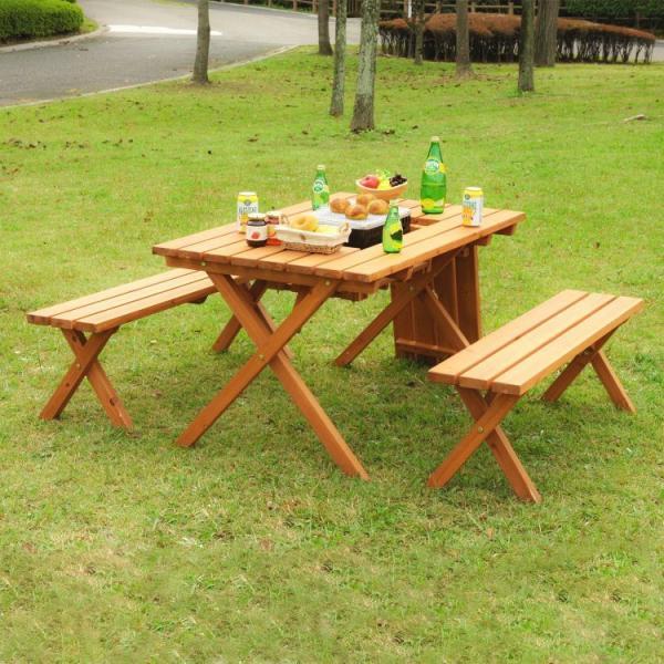 ベランダ テーブルセット おしゃれ コンロスペース付き ベンチ付き BBQ アウトドア ガーデンテーブルセット ナチュラル