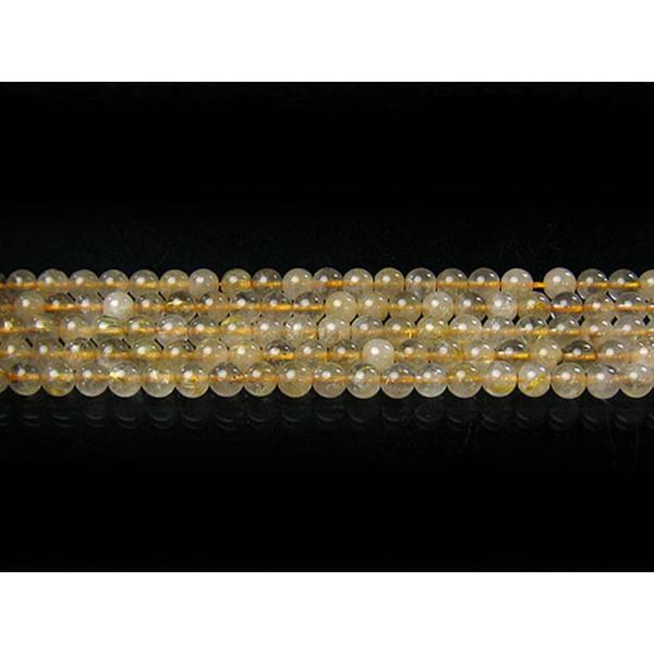 ルチルクオーツ 6mm 天然石 ビーズ 丸玉 半連 約17〜18cm