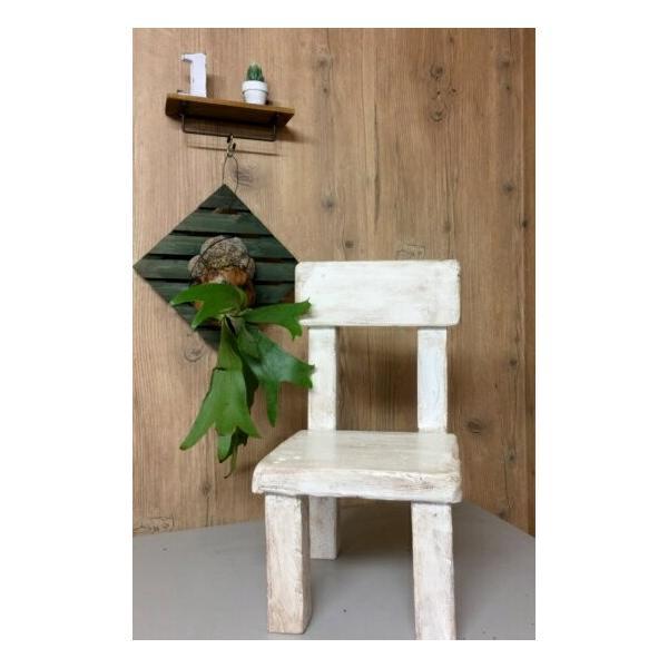木工椅子花台(オリジナル)白の写真