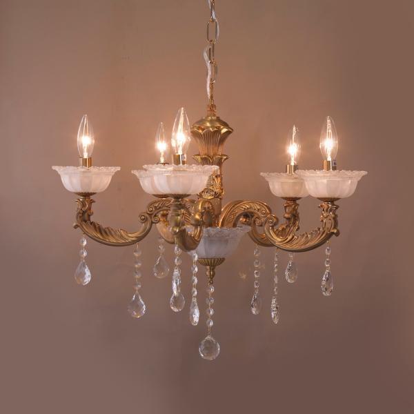 【吊照明】クラシカルシャンデリア[カルチェラタン(5灯)]<E12/水雷型>天井照明 モダンインテリア 北欧風 レトロ  LED対応 代引き不可品