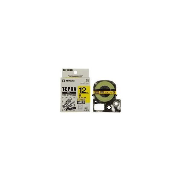 (業務用5セット)キングジム テプラ PROテープ ラベルライター用テープ 〔強粘着 幅:12mm〕 SC12YW イエロー(黄)〔送料無料〕