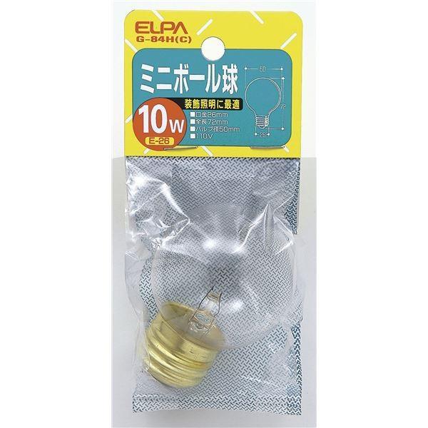 ELPA ミニボール球 電球 10W E26 G50 クリア G-84H(C) 〔×25セット〕〔送料無料〕