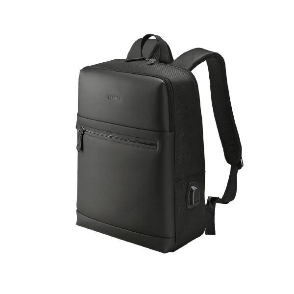 【直送】(まとめ)ウノフク USBボート付バッグパック 13-6074 黒〔×5セット〕