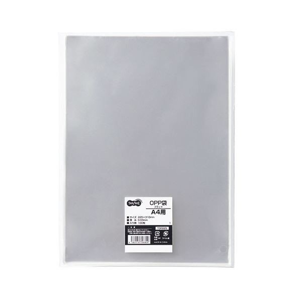 TANOSEE OPP袋 フラット A4用 225×310mm 1セット(500枚:100枚×5パック) 〔×5セット〕〔送料無料〕
