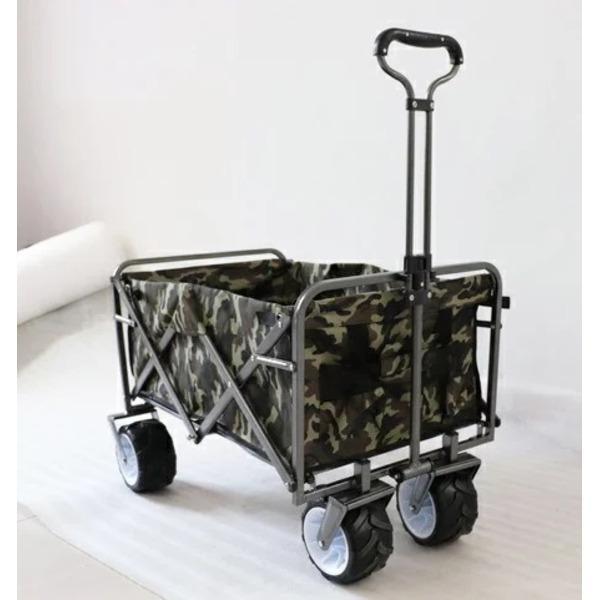 DETAIL キャリーワゴン キャリーカート 大型タイヤ 迷彩〔代引不可〕