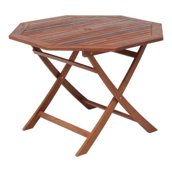 八角形テーブル ガーデンテーブル 幅110cm 木製(アカシア オイルステイン仕上げ) パラソル穴付き〔送料無料〕