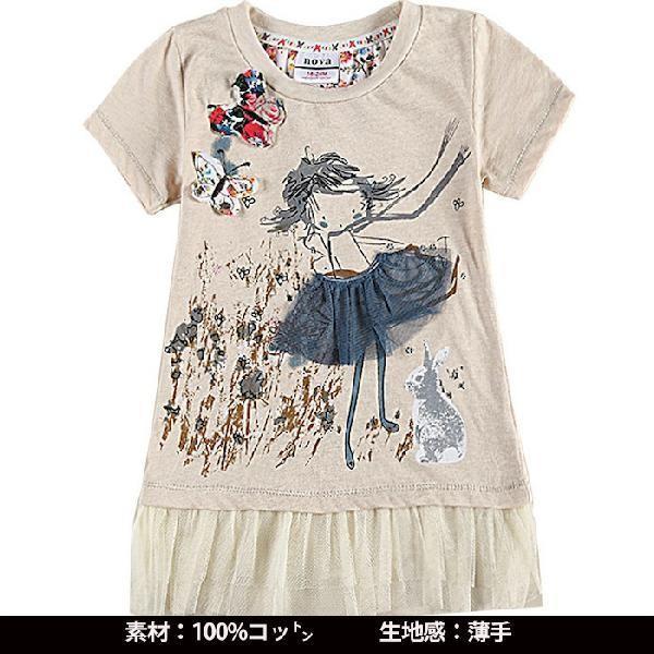 韓国風子供服 女の子半袖tシャツ 女の子aラインワンピース 100コットン