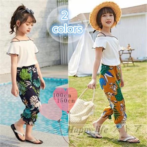 035b9c525a64d Tシャツ+ パンツ 女児 女の子 子ども服 キッズ 韓国子供服 カットソー 袖なし オフ