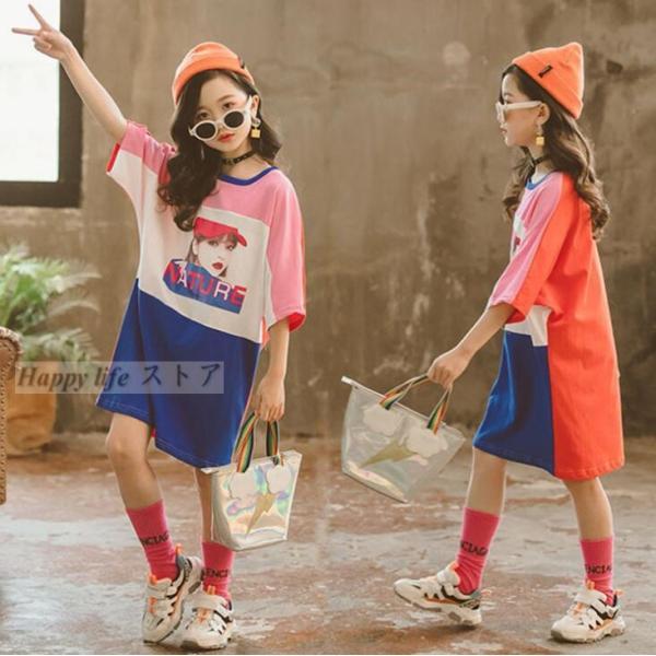 88cd15202425b 2019新作 夏 ロング Tシャツ ワンピース 半袖 Tシャツ 切り替えパーカー ベーシック 韓国服 子供