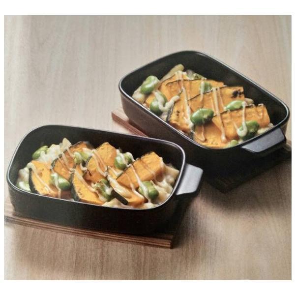 グリルで グラタン皿ペア  敷板付 万古焼 日本製 20×12.5×4cm   耐熱陶製皿|happylife888|02