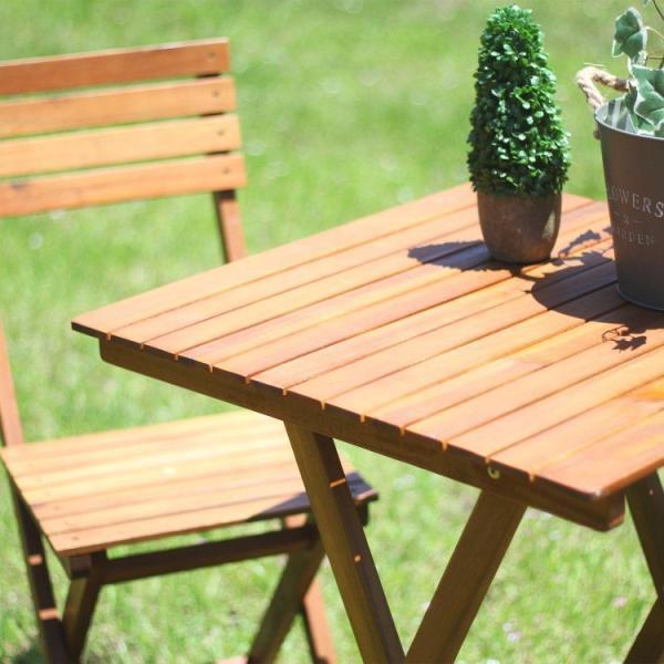 ガーデンテーブルセット おしゃれ 折りたたみ 3点セット テーブル:60×60×71cm 木製 ブラウン