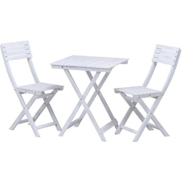 ガーデンテーブルセット おしゃれ 3点セット テーブル:60×60×72cm アカシア 木製 ホワイト