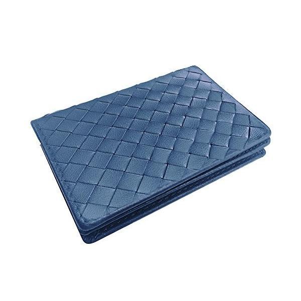 ターホー 本革 名刺入れ カードケース 羊革 編込名刺入れ ビジレス名刺 2折りカードケース 大容量 50枚収納 (ブルー)|happysmiles