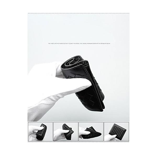 ターホー 本革 名刺入れ カードケース 羊革 編込名刺入れ ビジレス名刺 2折りカードケース 大容量 50枚収納 (ブルー)|happysmiles|04
