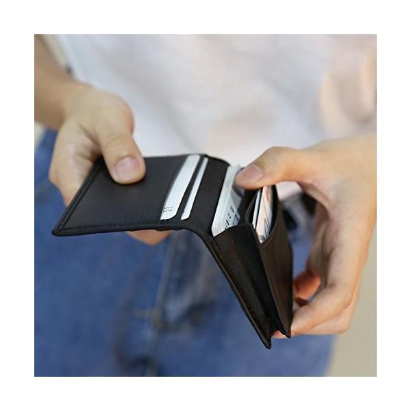 ターホー 本革 名刺入れ カードケース 羊革 編込名刺入れ ビジレス名刺 2折りカードケース 大容量 50枚収納 (ブルー)|happysmiles|05