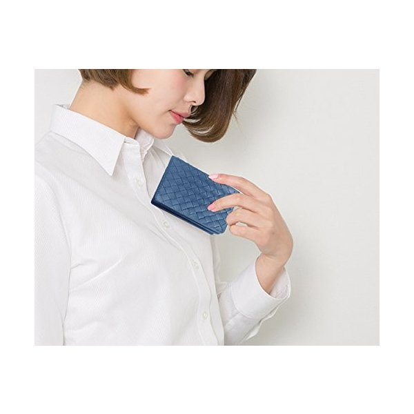 ターホー 本革 名刺入れ カードケース 羊革 編込名刺入れ ビジレス名刺 2折りカードケース 大容量 50枚収納 (ブルー)|happysmiles|06