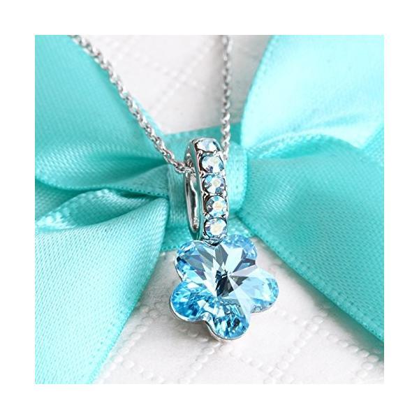 One&Only Jewellery スワロフスキー エレメンツ さくらシェイプ ネックレス ペンダント K18GP 正規ストーン採用 (ブルー)|happysmiles|02