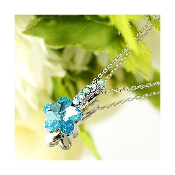 One&Only Jewellery スワロフスキー エレメンツ さくらシェイプ ネックレス ペンダント K18GP 正規ストーン採用 (ブルー)|happysmiles|03