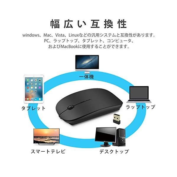 ワイヤレスマウス 超薄型 静音 無線 マウス 省エネルギー 2.4GHz 3DPIモード 高精度 持ち運び便利|happysmiles|05