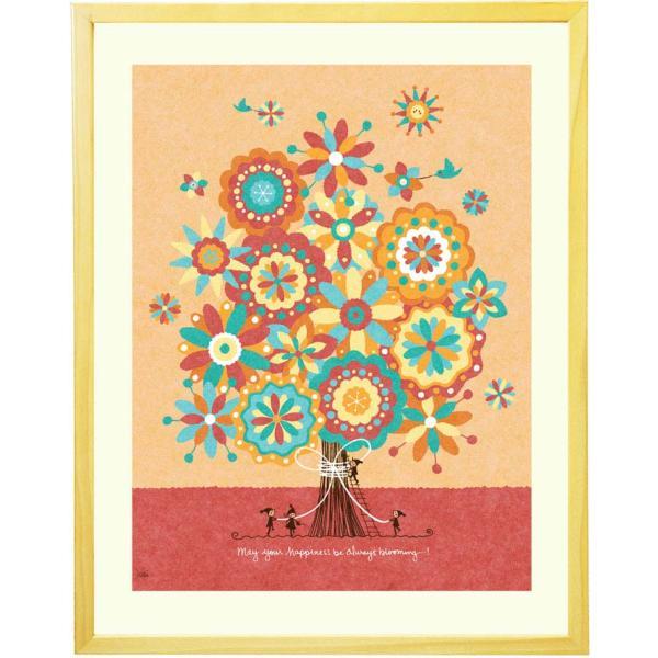 花の絵画 インテリア 絵 (幸せの花束/額入り-Mサイズ・ポエム付) 玄関に飾る絵画 ウェルカムボード 玄関 店舗 壁掛け 風水 リビング おしゃれ ナチュラル