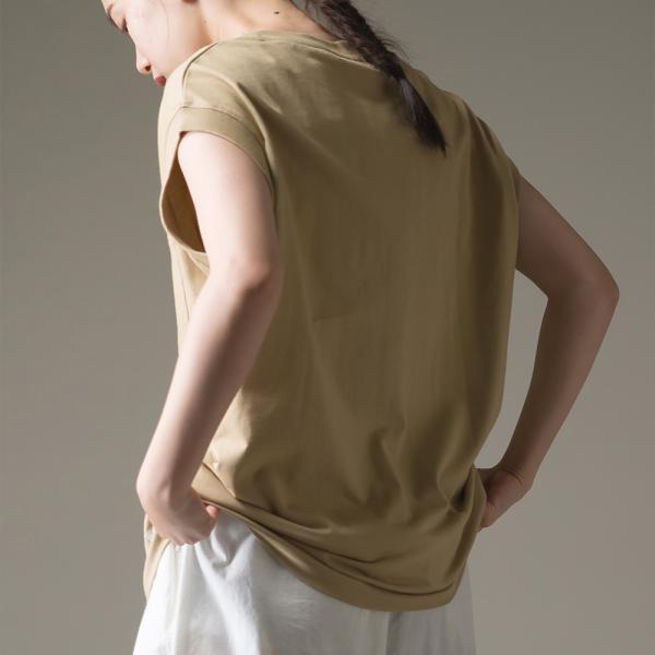 レディース フリーサイズ OMNES ヘビーウェイト ポケット付ノースリーブTシャツ  トップス 無地 ボーダー