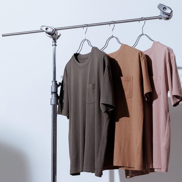 OMNESユニセックス製品洗いポケット付無地半袖Tシャツレディースメンズカジュアルトップスシンプルベーシック