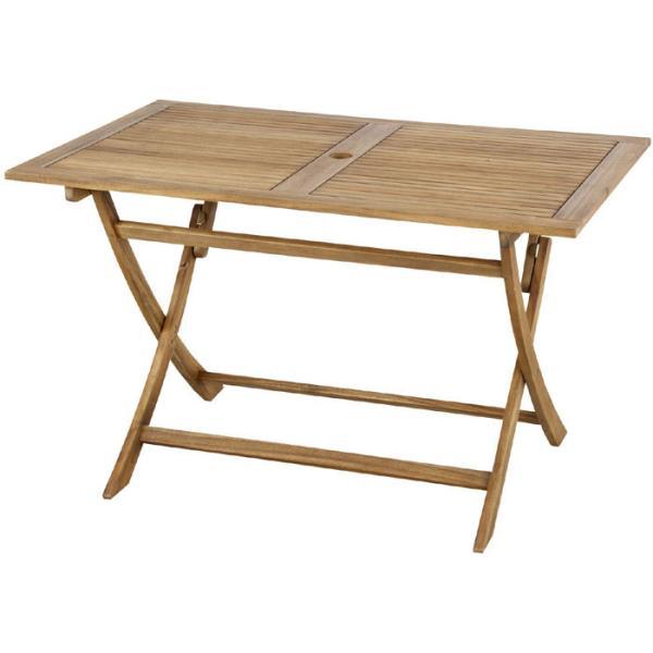 折りたたみ 木製 ガーデン テーブル ニノ 幅120cm パラソルホール付 木製テーブル 机 つくえ ガーデンテーブル ベランダ アウトドア おしゃれ お洒落 オシャレ