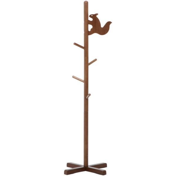 コートハンガー ポールハンガー コート掛け キッズ リス ブラウン ジュニアハンガー 小さい 子供用 洋服掛け かわいい おしゃれ 木製 ポールスタンド|harda-kagu