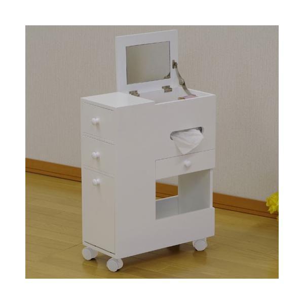 アクセサリーケース 多収納 スリム コスメボックス ワゴン ホワイト 鏡台 ミラー ドレッサー チェスト かわいい おしゃれ 化粧台 メイクボックス|harda-kagu