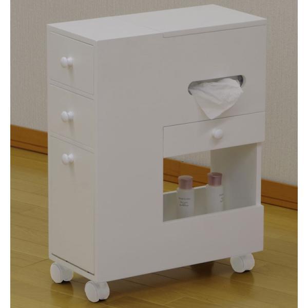 アクセサリーケース 多収納 スリム コスメボックス ワゴン ホワイト 鏡台 ミラー ドレッサー チェスト かわいい おしゃれ 化粧台 メイクボックス|harda-kagu|02