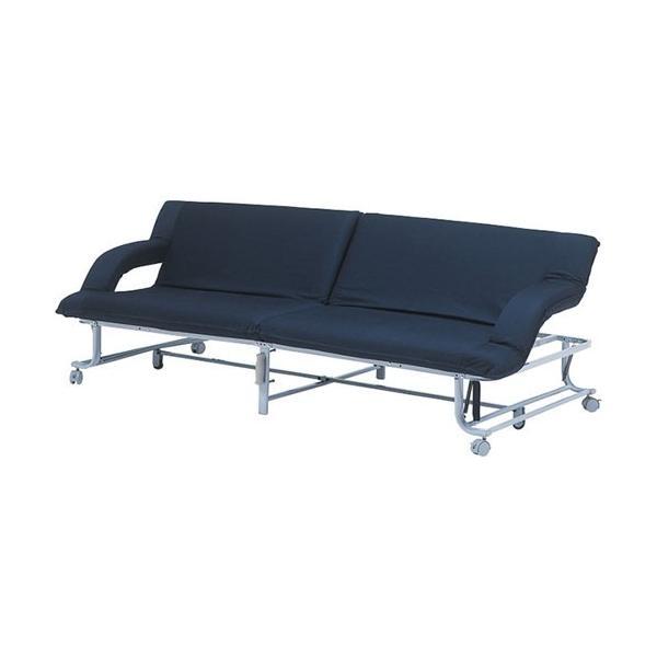 3人掛けリクライニングソファベット 幅202cm 布張 グレイス2 ネイビー グレイスII-NV hg-gls2-nv