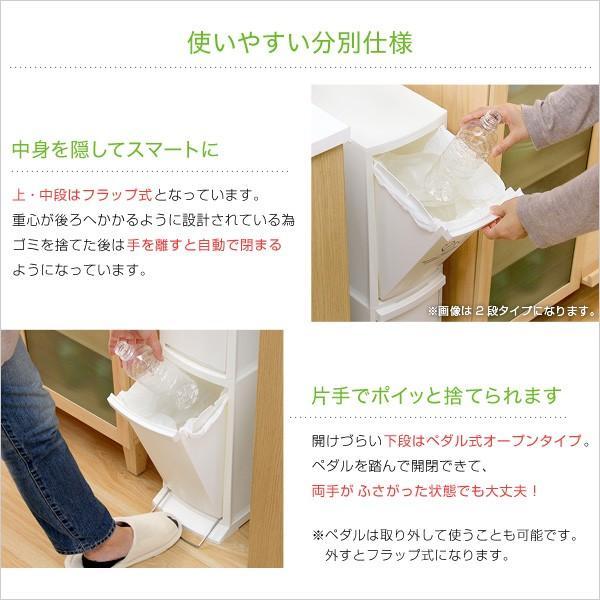 ゴミ箱 30L 縦型分別ダストボックス 3段 日本製 Cocod ココド スリム 省スペース フタ付き フットペダル 分別式 3分別 フラップ式 ごみ袋ストッパー付き harda-kagu 04