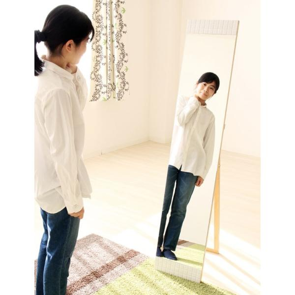 タイルフレームスタンドミラー カーラ ミラー 鏡 スタンドミラー 姿見鏡 全身鏡 全身 姿見 幅300 奥行42〜420 高さ148〜150mm 雑貨 ドレッサー|harda-kagu|02