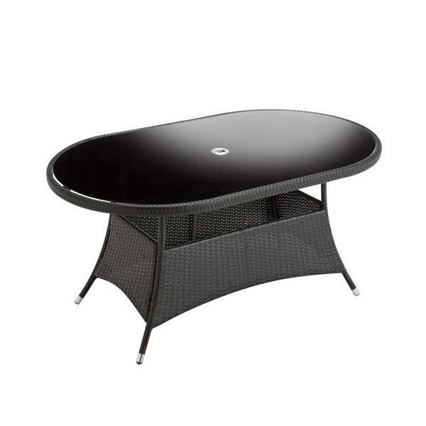 ガーデンテーブル 強化ガラス天板 パラソルホール付 机 Table 人工ラタン ウィッカー編み ガーデンファニチャー 31DN-T 選べる柄3タイプ 送料無料