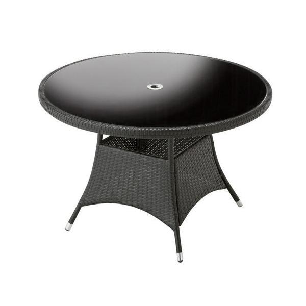 ガーデンテーブル 直径110cm 強化ガラス天板 パラソルホール付 机 Table 人工ラタン ウィッカー編み ガーデンファニチャー 36BT-T 茶色 送料無料