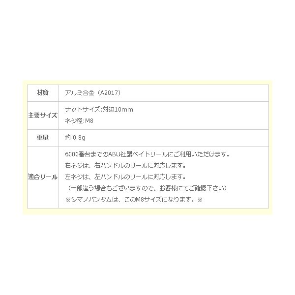 アベイル Avail ABU用 アルミ製ハンドルナット M8 メール便発送可!|haroweb2|02