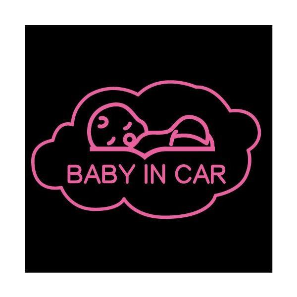スヤスヤベビー【BABY IN CAR(ベビーインカー)ステッカー】赤ちゃんを乗せています シール(12色から選べます)【ネコポス対応】