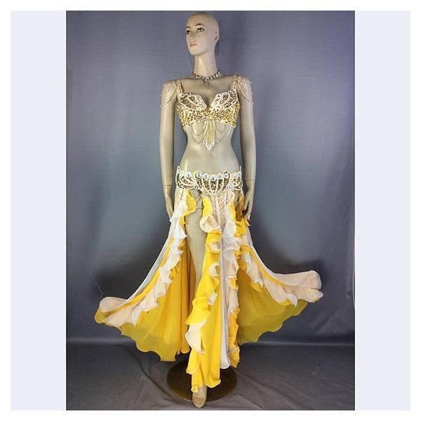 ベリーダンス 衣装 パールデザイン ブラ ベルト 上下2点セット