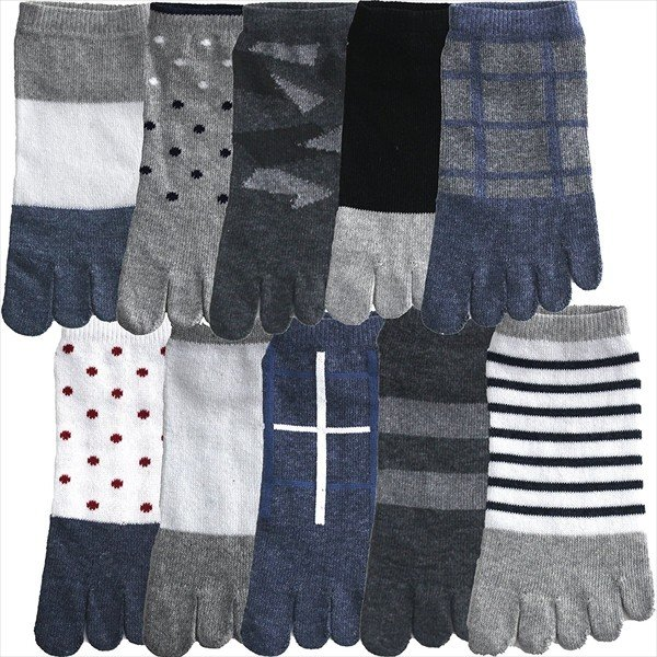 5本指 靴下 10足組 セット メンズ スニーカー ソックス ショート 靴下 25~29 cm  大きいサイズ harusaku 04