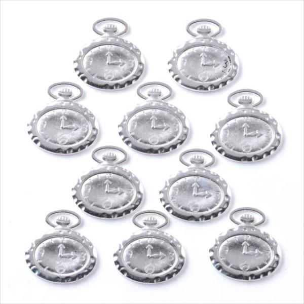 ミール皿 10枚セット 懐中時計 s65 シルバー 銀 カンあり カン付き 楕円 オーバル レジン アクセサリー パーツ 型枠 チャーム 台座 ピアス イヤリング 素材 手芸