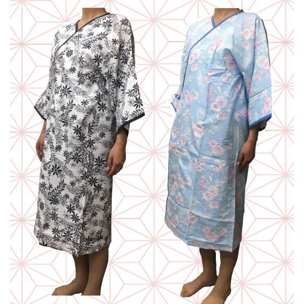 介護 ねまき 日本製生地 7分袖 ラウンジウェアー 打ち合わせ 花蕾 カラーねまき 綿100% 柄おまかせ フリーサイズ 女性|hashbaby|03