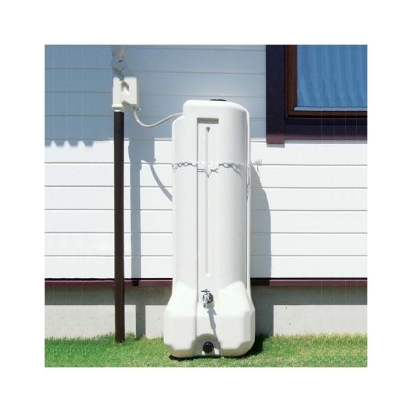 雨水 タンク 貯留 貯水  おしゃれ 家庭用 アクアタワー 分流器+ホース1m+転倒防止チェーン 送料無料 エコライフ