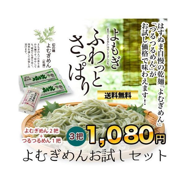 【送料無料】税込1,080円!/乾麺/天然よもぎの入った幻の麺と口あたりよい麺のつるつるめんのよむぎめんお試しセット(合計3把)|hasunuma-seimen