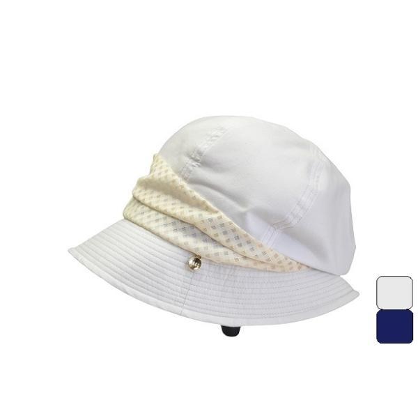 DAKSダックス婦人帽子クロッシェキャスケットレディースハットS,Mサイズ(ホワイト/ネイビー)女性春夏帽子D9934