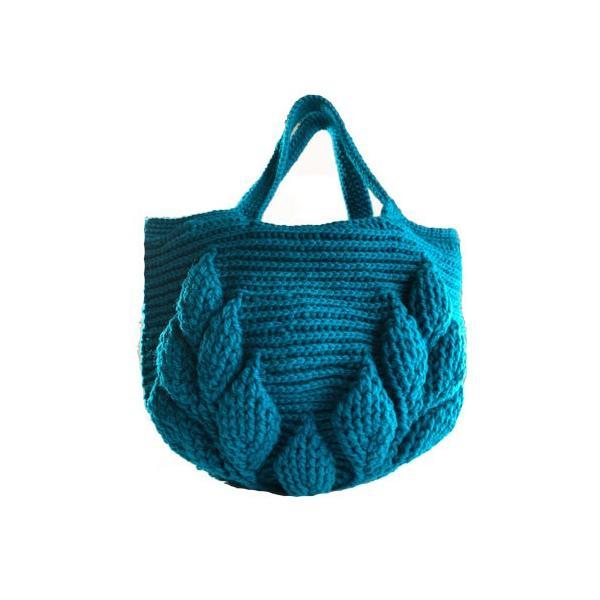 編み物キット ボニーで編む リーフ柄の引き上げ編みバッグ 9玉セット ハマナカ ネコポス2通|hatawa-koko